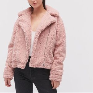 NEW Urban Outfitters Pink Teddy Coat Size Large